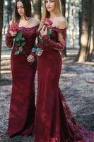 ingrosso abiti moderni borgogna-Borgogna moderna paese abiti da damigella d'onore scoop collo maniche lunghe in pizzo paillettes applique damigelle d'onore economici promenade party party dress