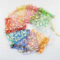 altın gümüş takı torbalar toptan satış-11 renkler 7X9 cm Açık Altın Gümüş Kalp Küçük Organze Çanta Takı Hediye Torbalar Şeker Çanta Takı Torbalar, Çanta HJ246