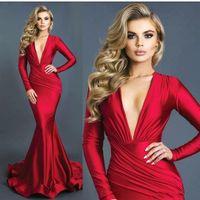 mütevazı gece elbisesi kırmızı toptan satış-Mütevazı Mermaid Kırmızı Abiye Dantelli Derin V Yaka Uzun Kollu Örgün Balo Elbise Vestidos Elastik Ipek Saten BA8971 Gibi
