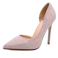 zapatos de diamante para la boda al por mayor-2019 Diseñador de lujo Red Bottoms Heels 10cm novia rhinestone cristal diamante brilla fiesta de tacón alto fiesta de fondo rojo bombas zapatos de boda