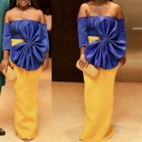 ingrosso grande bowtie giallo-Donne Maxi Party Dress Sexy Big Bowtie Blu Giallo Contrast Colour Elegante Backless Celebrate Dinner Party Evening Bodycon Robes