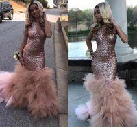 vestidos de lentejuelas rosa niñas al por mayor-Black Girls Sequins Mermaid Rose Pink Vestidos de fiesta largos 2019 Sexy Halter con cuello en V profundo Falda de organza Vestidos de fiesta de noche BC1836