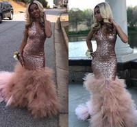 schwarze prom rose kleid großhandel-Schwarze Mädchen Pailletten Mermaid Rose Pink Lange Ballkleider 2019 Sexy Halter Tiefem V-Ausschnitt Organza Rock Abend Party Kleider BC1836