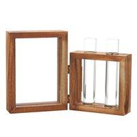 Wholesale shop bathroom decor for sale - Group buy Creative Hydroponic Plant Transparent Vase Wooden Frame Coffee Shop Room Decor