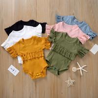 Wholesale summer baby clothes stripe short resale online - 6 Colors Newborn Baby Romper Stripe Summer Jumpsuit Infant Girl Princess Onesies Short Sleeve Bodysuit Clothes New