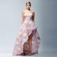 cariño vestidos de fiesta de organza asimétricos al por mayor-Modest A-line Pink Vestidos de baile cariño asimétrico dobladillo apliques fiesta de lentejuelas vestido de noche de Organza 2019