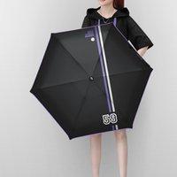 ingrosso mini ombrello di plastica-Cinque ombrello pieghevole da baseball sportivo ombrello in plastica nera pieghevole creativo parasole a righe mini sole