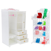 Wholesale diy kids furniture for sale - 2 Set High Quality Diy Bedroom Furniture Dress Wardrobe White Shoes Rack For Barbie Doll Accessories Playhouse Kids Toy Q190521