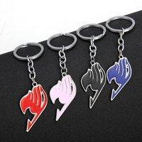 Wholesale fairy tail keys resale online - Hot Sale Animation Jewelry Fairy Tail Keychain Fashion Alloy Keychains Ring Colors Key Chain Accessories