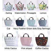 Wholesale lunch bag insulated for sale - Group buy Outdoor Camping Aluminum Foil Insulated Lunch Handbag Large Capacity Portable Waterproof Food Bags Oxford Cloth Print Lunch Bag VT1558 T03