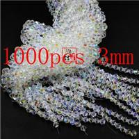 cristal 925 perlas de plata al por mayor-Moda 1000 exquisitas piezas de 3 mm de perlas de cristal doble cono de joyas de marca blanca NecklaceBracelet AB