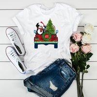 рождественская одежда для женской собаки оптовых-Женщины графический радость дерево печатных медведь собака автомобиль мода С Рождеством дамы топ футболка Женская одежда футболка Футболка