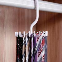 Wholesale white clothes hangers resale online - Hot Sale Storage Holders Rotating Hooks Belt Neck Tie Holder Rack Hanger Organizer Space Saving