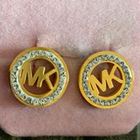 bijoux silber groihandel-Berühmte marke diamant hochzeit ohrring 18 Karat vergoldet edelstahl silber edlen schmuck für Frauen mädchen Für Liebhaber Zubehör Bijoux