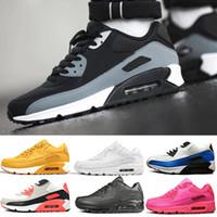 kadın s deri beyaz ayakkabılar toptan satış-Nike 90 airmax 90 Vapormax off white 2019 Moda Marka Erkek Sneaker 90 Ayakkabı Siyah Beyaz Erkek kadın Koşucu Spor Eğitmeni Yastık 90 s Yüzey Nefes Deri Spor ayakkabı