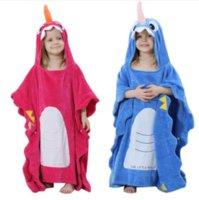 ingrosso accappatoio per bambini-Accappatoio bambino con cappuccio animale cartone animato carino asciugamano neonato pigiama unicorno corallo bagno accappatoi del bambino coperta pigiameria MMA1518