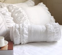 almofadas bordadas rendas venda por atacado-Branco bordado almofada decorativo travesseiro da cama Europeia almofada doces princesa plissado rendas lombar sofa mão repousa