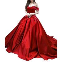 gala kadın elbiseleri toptan satış-Kadın Vintage Balo Uzun Saten Gelinlik A-Line Kapalı Omuz Abiye Cepler ile gala elbise 2019