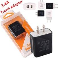 ingrosso case mobili di viaggio-Travel Adapter 3.4A Dual USB 2 porte caricatore da parete Home Travel Power Adapter US EU Plug per Samsung Tablet Telefono cellulare con pacchetto di vendita al dettaglio