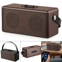 Wholesale 16W Vintage Brown and Black Color Bluetooth Speaker Portable Retro Wood Design Stereo Sound for Suburban Camping Dancing Yoga SSB_30T