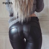 ingrosso pantaloni in spandex in pelle-Pelle FQLWL Faux dell'unità di elaborazione Leggings spessore / nero / spinge verso l'alto / vita alta Leggings Women Plus Size inverno dei pantaloni di Legging delle donne sexy Leggins V191028