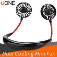 Wholesale fans for sale - Group buy 2019 Portable USB Rechargeable Neckband Lazy Neck Hanging Dual Cooling Mini Fan sport degree rotating hanging neck fan