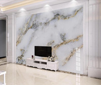 luxus-gold-tapete großhandel-Moderne weiße marmor tapete 3d wandbild für tv hintergrund wand dekor gold luxus wandbilder foto gedruckt papier für schlafzimmer