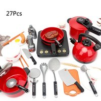 Wholesale kids cooking tools resale online - 27Pcs Set Home Kitchen Utensils Tools Cooking Pots Pans Dishes Cookware Toy for Kids Children Play House Pretend Toys E65D