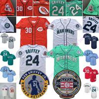 Wholesale 24 bryant jerseys resale online - Ken Griffey Jr Jr Jersey Cooperstown Seattle Cincinnati Mariners Reds HOF Hall Of Fame Patch
