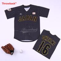 camisetas japonesas al por mayor-Shohei Ohtani Japón Jersey 16 Béisbol japonés Camisetas de WBC Whote Black Pinstripe Adult Size S-3XL