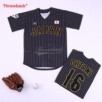 ingrosso maglie giapponesi-Shohei Ohtani Japan Jersey 16 maglie da baseball giapponese WBC Whote Nero gessato taglia adulto S-3XL