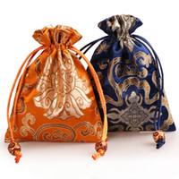 petit sac de parfum achat en gros de-Épaissir Riche Fleur Petits Bijoux Pochette Cadeau Cordon En Soie Brocade Emballage Sac Bijou Parfum Maquillage Outils Poche De Rangement