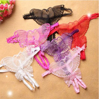 Wholesale red open roses resale online - Butterfly Sexy Crotchless Lace Micro Women Open Thongs g Strings Transparent Ladies Panties Sexy Underwear Femme Ouvert
