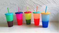 mudanças de logotipo venda por atacado-LIVRE DE BPA! Copos bebendo da cor 24oz copo bebendo plástico mágico com tampa e palha Caneca de café mágica das cores dos doces Logotipo feito sob encomenda! SN3395