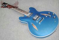 Wholesale guitars custom shop blue resale online - new Custom Shop Blue Semi Hollow Body Jazz Electric Guitar Guitar