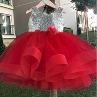 207d640a2fb9 Girls Dress Sequins Ruffle Trim Layered Tulle Pageant Party Flower Girl  Dress 4 colors free shipping