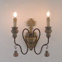 land lampen wohnzimmer großhandel-American Country Vintage Wandleuchten Schlafzimmer Wohnzimmer Holz Spiegel Licht Gang Eisen Korridor Wandleuchte