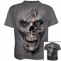 roupa da bola de cristal venda por atacado-Homens Verão Ginásio Ao Ar Livre T-Shirt Quick Dry Execução de Fitness Tops Moda 3D Impresso T-shirt Casual manga Curta Tshirt Crânio