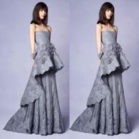 robes de soirée décolleté floral achat en gros de-Collection Marchesa 2019 longue robe de soirée en dentelle grise avec embellissements floraux en 3D décolleté bustier robes de soirée