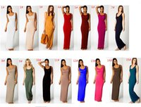 Wholesale military tutu for sale - Group buy Women Solid Color Spaghetti Sexy Long Tank Dress Summer Maxi Dresses Casual Sleeveless Bodycon Beach Travel Party Dress Night Skirt A32001