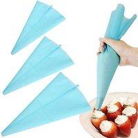 conjunto de bolsa de tubería de pastelería al por mayor-Bricolaje de silicona Icing Piping Cream Pastelería Set Herramientas de decoración de pasteles Azul claro