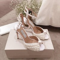 кожаные сандалии оптовых-19 Коллекция Весна / Лето Сандалии из чистого белого жемчуга, Стильные женские сандалии на шпильках, полная упаковка, горячие продажи