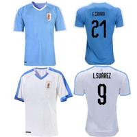 camiseta de casa de uruguay al por mayor-2019 Nueva Copa Uruguay de América casa azul visitante camiseta blanca de fútbol Suarez Edison Cavani Forlan Godin C.RODRIGUEZ camiseta de fútbol nacional