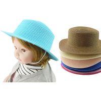 Wholesale straw hat handmade online - Summer children s straw hat baby handmade crochet visor sun hat breathable fisherman grass braid hat