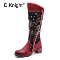 cremalheiras laterais venda por atacado-Moda Patchwork Ocidental Botas de Cowboy Mulheres Sapatos Bohemian Botas De Couro Genuíno Mulher Do Vintage Side Zip Joelho Botas de Equitação Alta