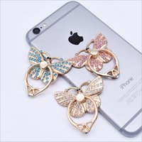 Wholesale elegant phone holder online – Luxury Ring Mobile Phone Holder For iPhone Samsung Elegant Butterfly Bow Bling Diamond Unique Cell Phone Holder Fashion with package