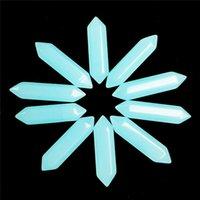 ingrosso jade cabochon-10Pcs Blue jade Esagonale prisma CAB CABOCHON 35x8mm Invio casuale
