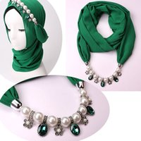 Wholesale scarf hijab sale resale online - Hot Sale Pearl Chiffon Scarf Muslim Women Solid Hijab With Alloy Pendants Jewelry Necklaces Scarves Collar Hijabs
