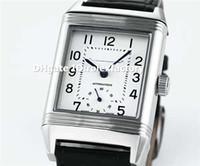 relógios mens de cristal de safira venda por atacado-Melhor Retângulo de Aço Inoxidável 316L Grande Reverso Mens Watch Duoface Dial Swiss Automático de Cristal de Safira Bezerro Pulseira de Negócios relógio de Pulso