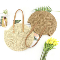 Wholesale round cell phones online – 2019 Women Bag Women Round Circular Rattan Wicker Straw Woven Crossbody Beach Bag Basket Gift Bohemia bag Storage Bags